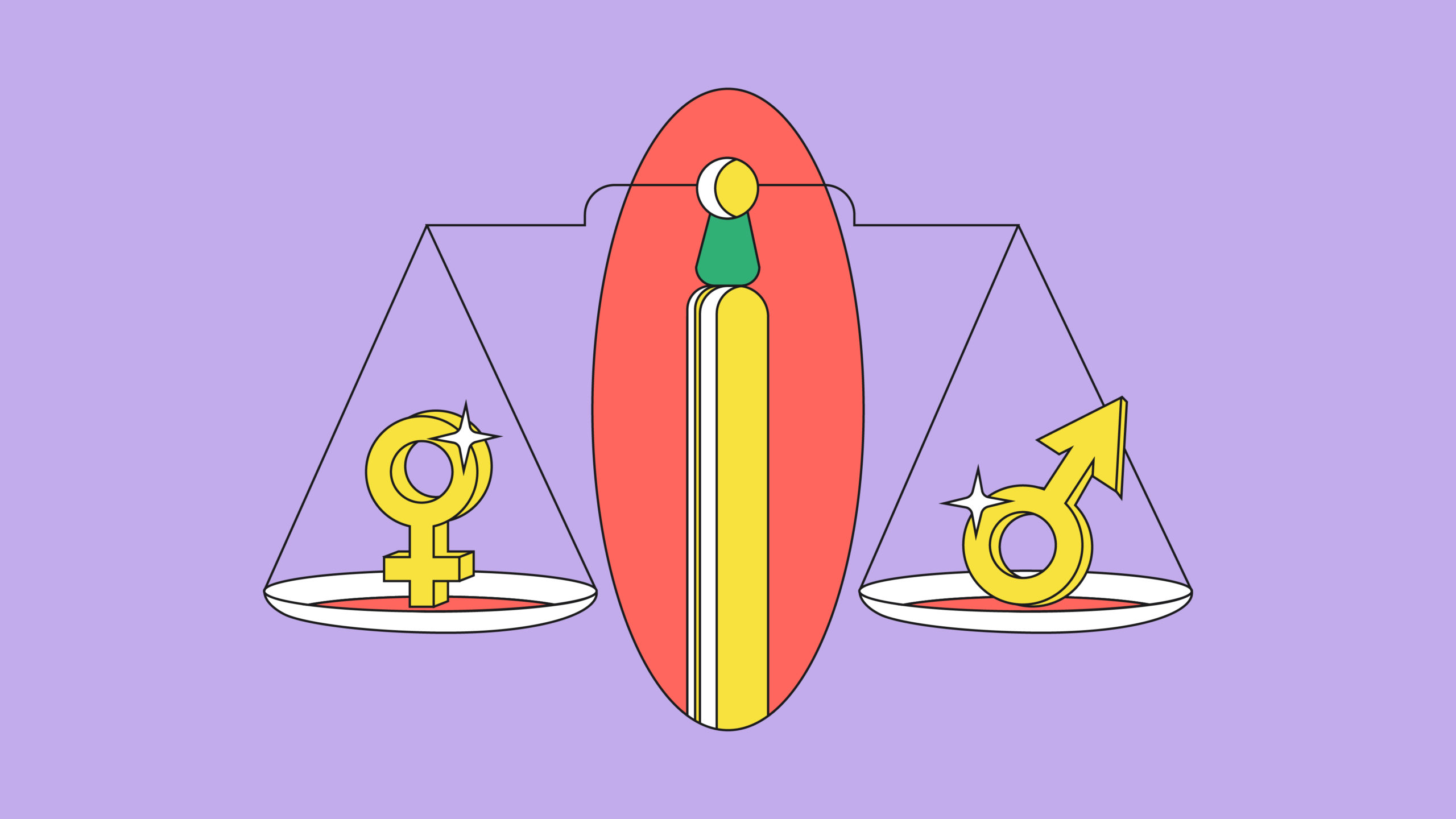 scale holding gender symbols